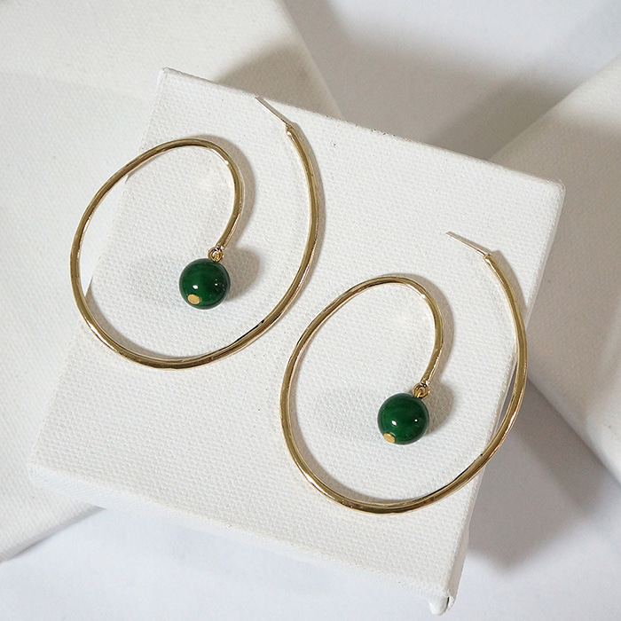 spiral greenball earring