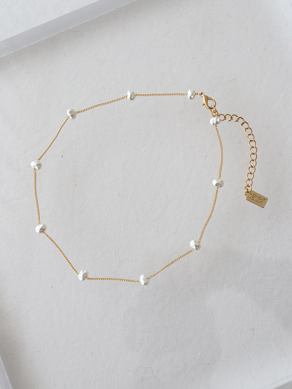 crumple pearl thin necklace (choker)