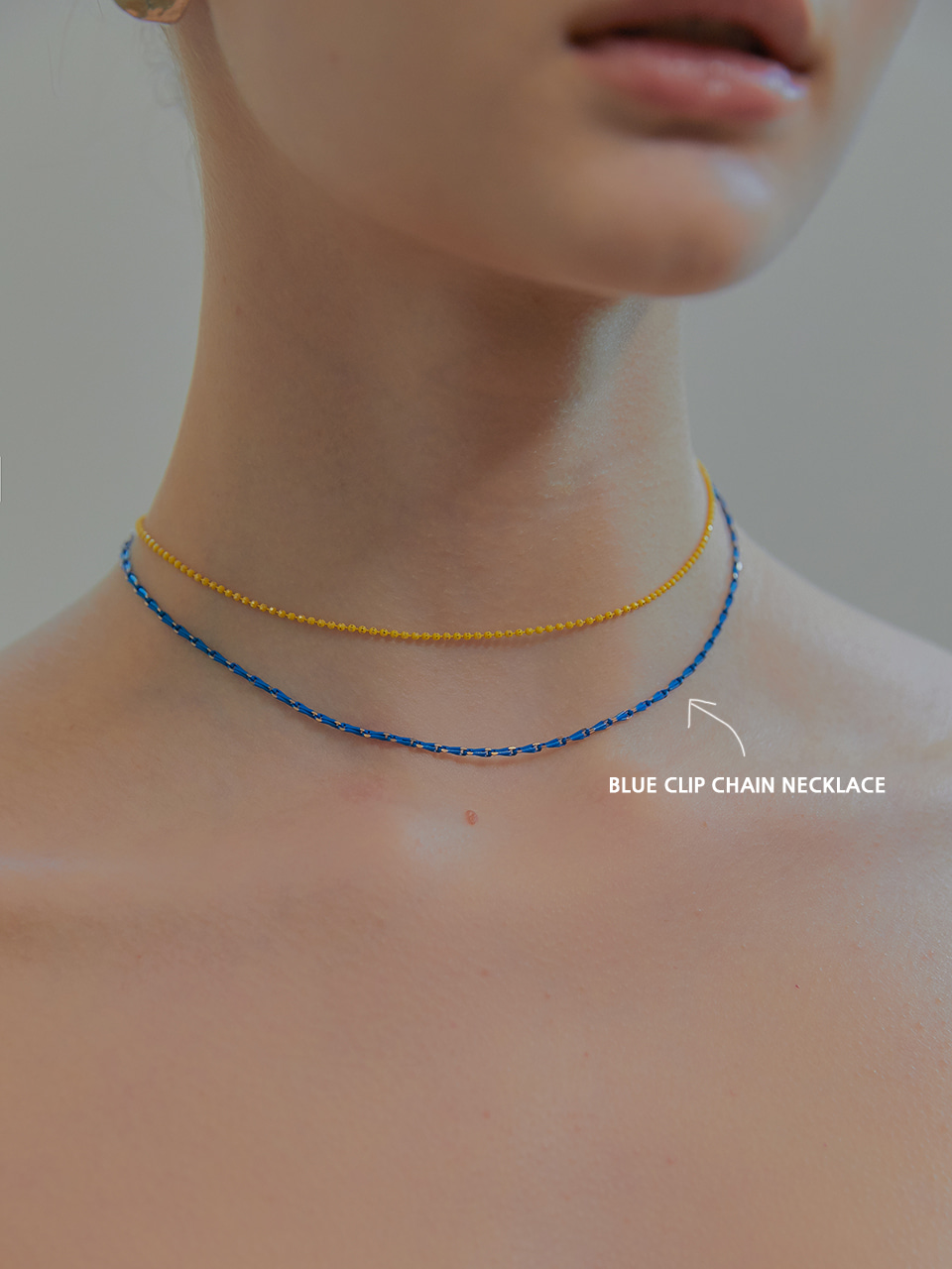 blue clip chain necklace (choker)