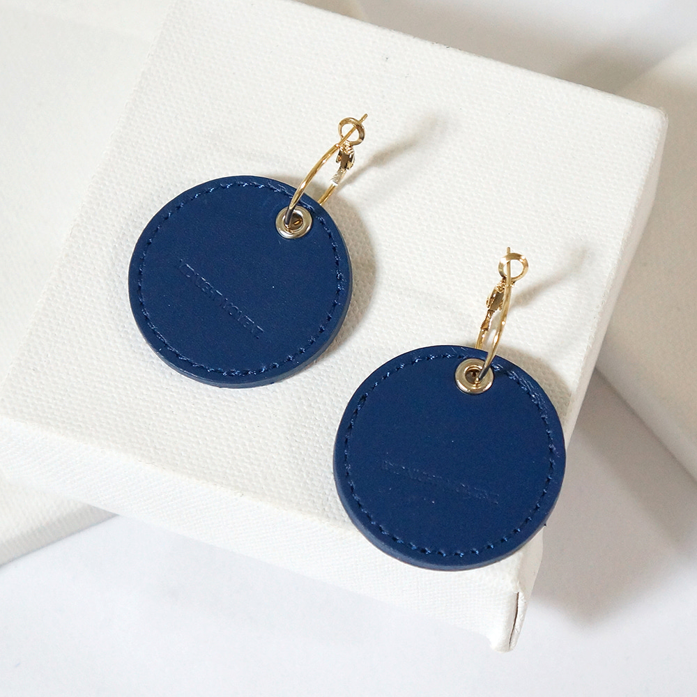 navy leather earring