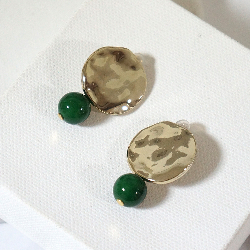 [sold out] texture greenball earclips