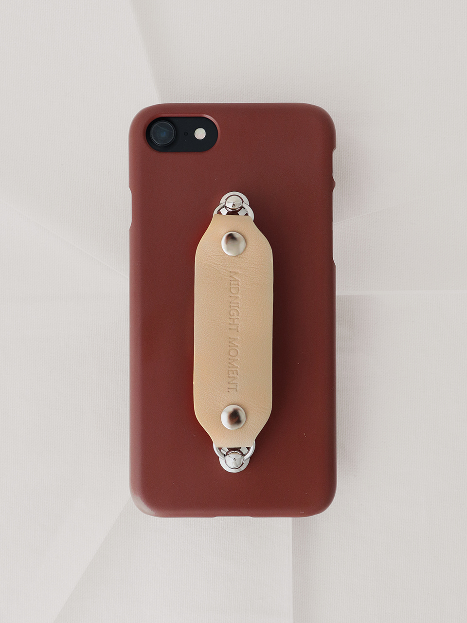 leather grip case brown - beige