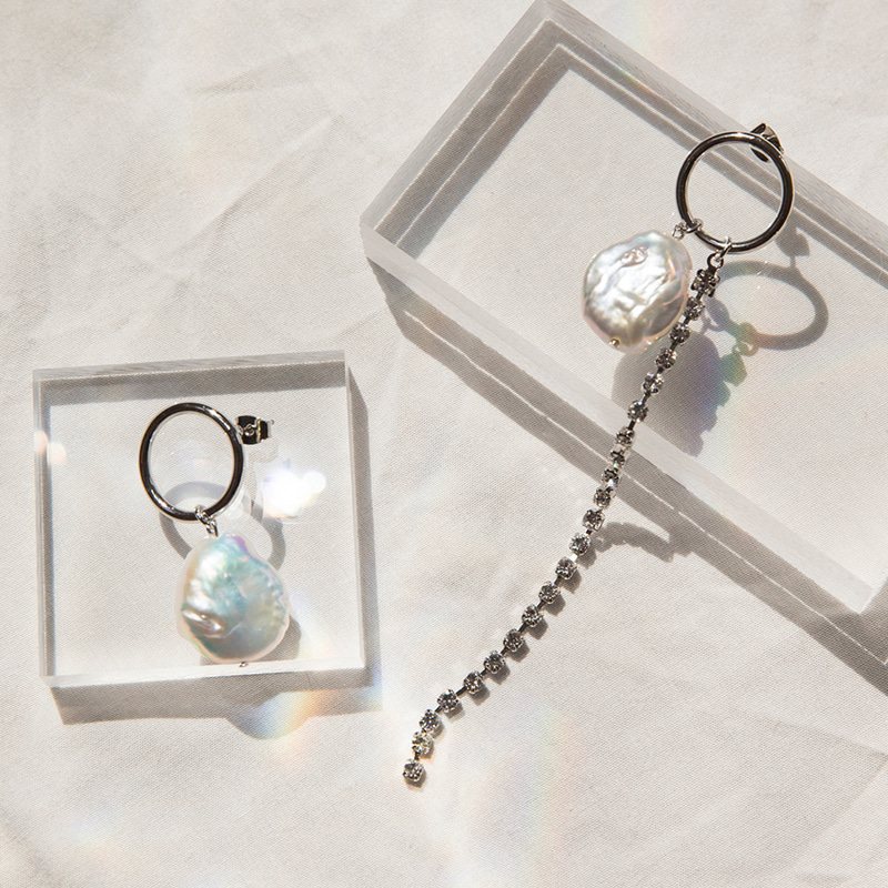 [collaboration] flow pearl unbal earring