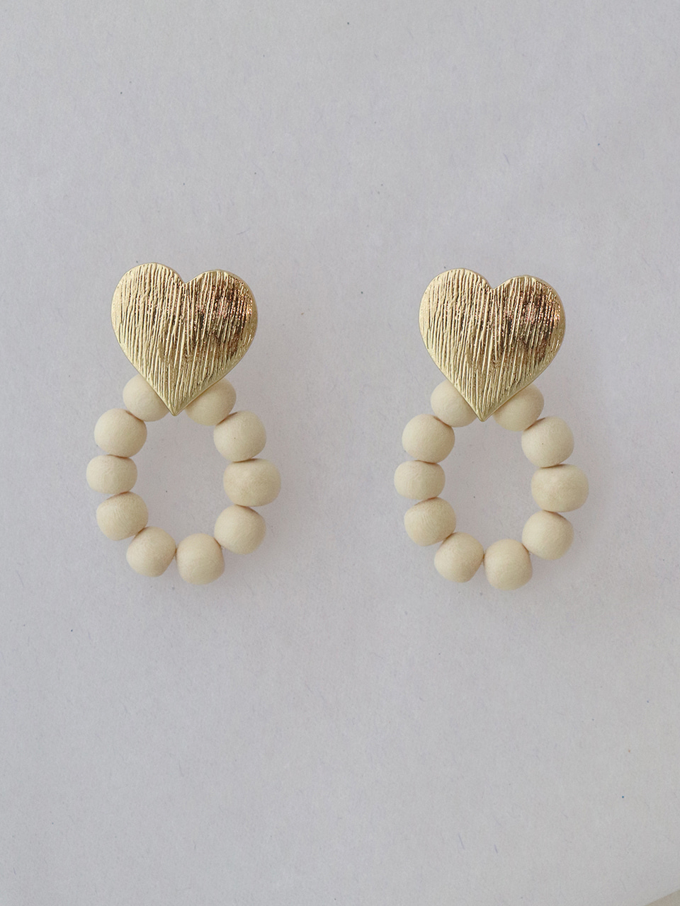 wood round earring
