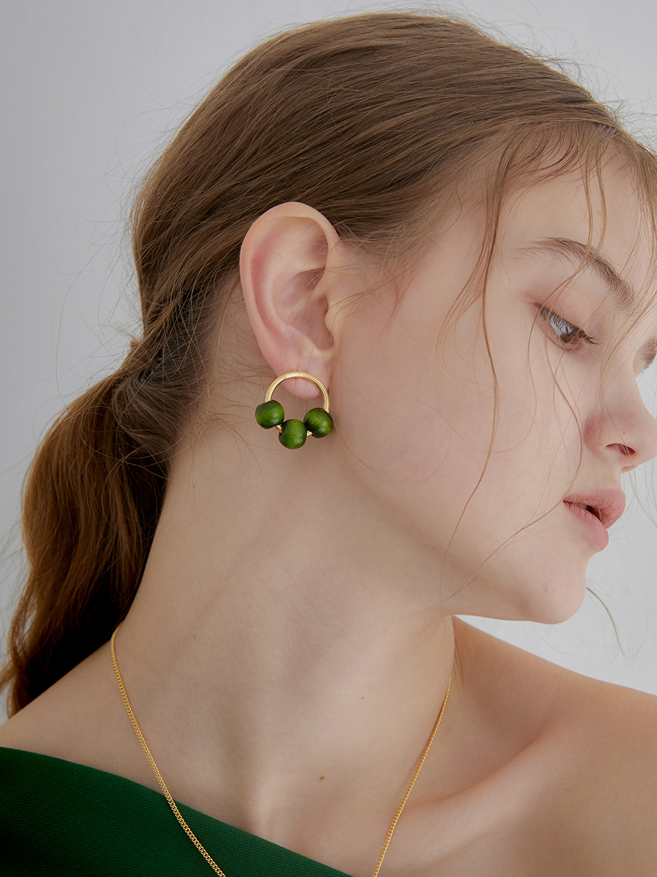 green wood earring