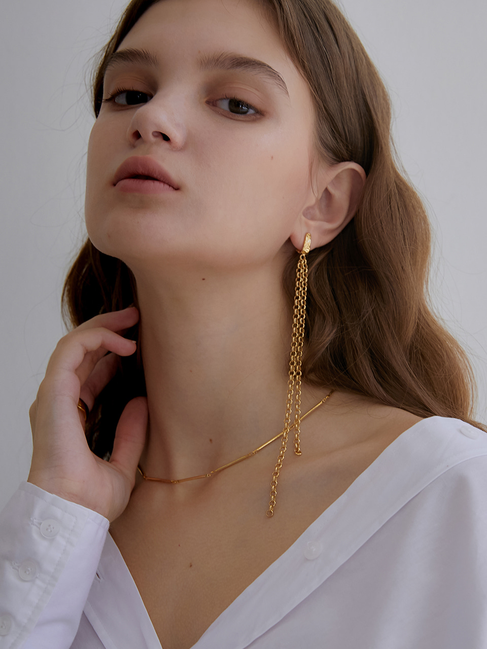 thin chain unbalance earring