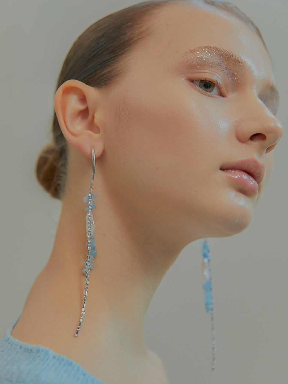 aqua drop earring