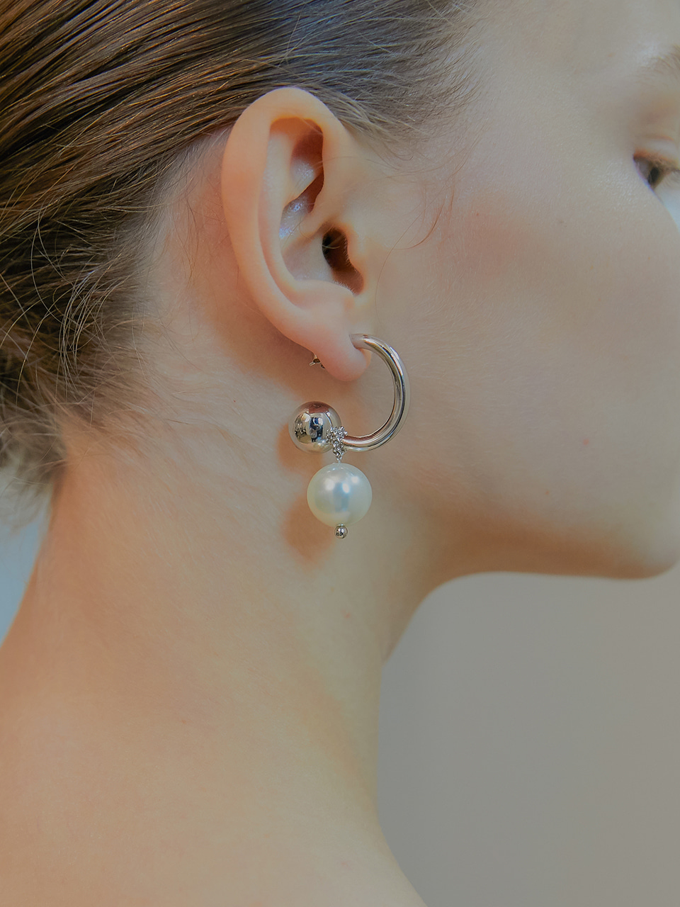 bold hoop ball earring