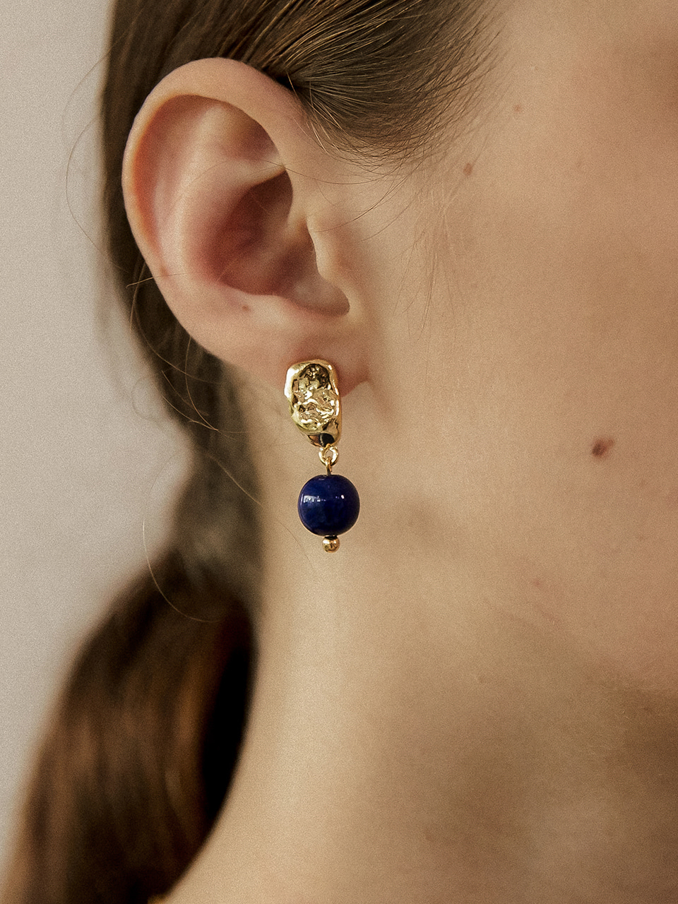 navy ball earring