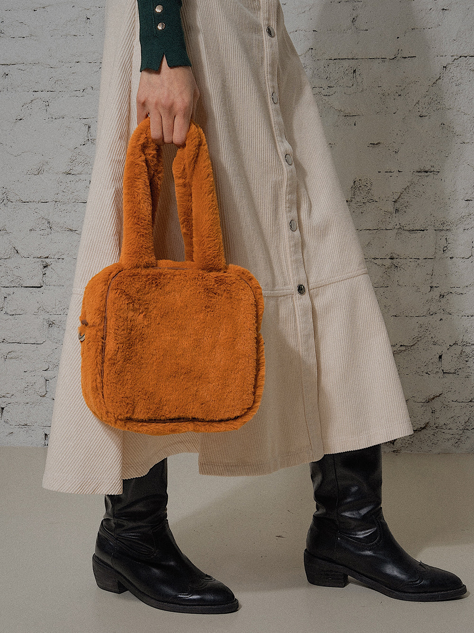 midnight square fur bag - mustard